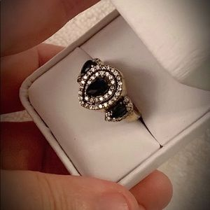 SAPPHIRE 3 STONE RING Sz 9.5 Solid 925 Silver/Gold